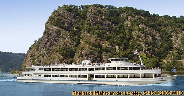 Boat cruise on the Rhine River near the Lorelei Rock